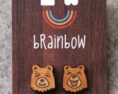 Wooden Bear Earrings