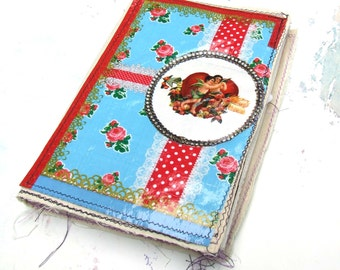 SALE Handmade  Journal - fabric covered Scrap journal - Photo album - diary - notebook -Junk Journal- Junque book