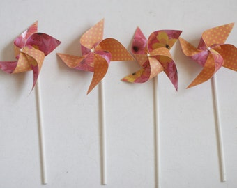 Pink and orange Party Decor, welcome baby party decorations, 12 Mini Orange and PInk Spinnable Pinwheels (custom orders welcomed)