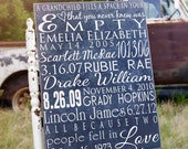 Personalize Grandparent Sign with Important Dates, Anniversary Sign, Family Tree Anniversary Gift