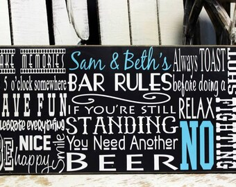 5th Anniversary Gift for him, Groomsmen Gift, Bar Rules, 5 Year Anniversary gifts for men, Wood Sign, Man cave Sign, Beer Sign, Bar Sign