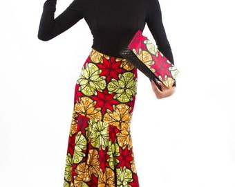 African Print Mermaid Skirt made with cotton fabric