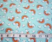 Unicorn Fantasy Rainbows and Clouds on Blue Fabric by Davids Textiles - princess, hearts, castles, unicorns