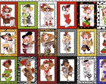 Sew Creative Ladies 24x44 panel Cotton Quilting Fabric by Loralie Harris for Loralie Designs