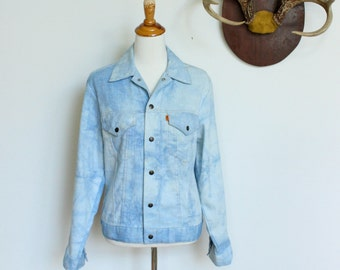 Vintage Levis Denim Jacket  //  Acid Wash Lightweight Jean Jacket Orange Tab
