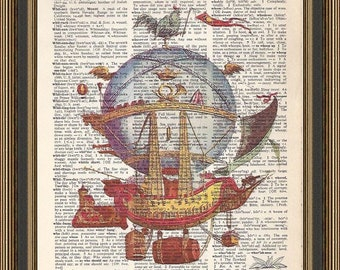 Hot air balloon steampunk ship vintage illustration is printed on a  recycled dictionary page.  Hot air balloon Print, Wall Hanging.