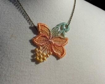 Orangehibiscus necklace, lace applique jewelry,  hibiscus