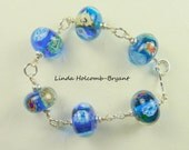 Bracelet of Blue Lampwork Beads with Ocean Theme