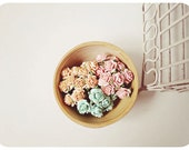 30 Aqua, peach and coral Rose Buds paper flower mixed color for wedding decoration/ pack