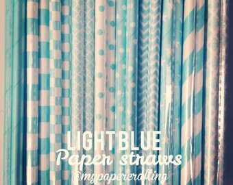 Light Blue color paper straws for wedding decoration/ pack