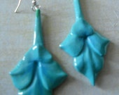 Calla Lily Earrings - Simple and Elegant Tiger Lily New Old Stock - Beautifully Carved and Painted in Turquoise
