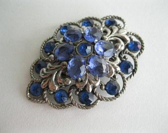 Vintage 1930s Blue Rhinestone Jewelry Dress Clip Bridal Fashions