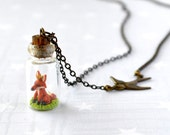 Fall Necklace Tiny fox in bottle.  Woodland Terrarium necklace.