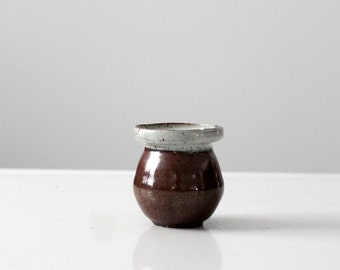 studio pottery vessel, vintage small ceramic pot