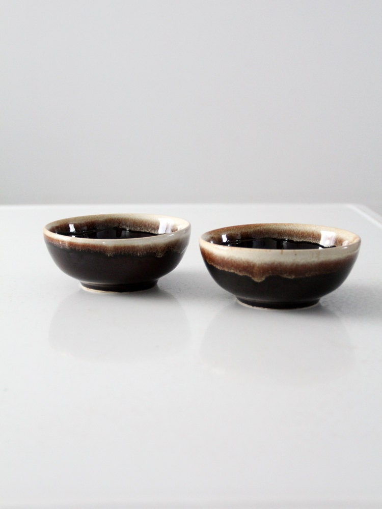 Vintage Ceramic Bowls Brown Drip Glaze Pottery