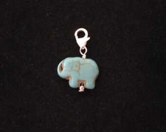925 Sterling silver Blue Turquoise ELEPHANT bead clip on charm pendant, fits link charm bracelet