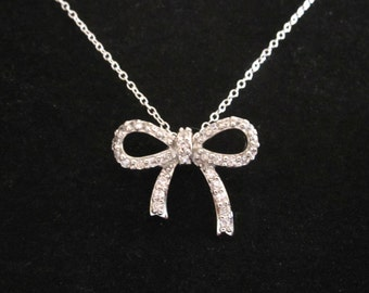 CZ stones BOW RIBBON sterling silver pendant with necklace chain