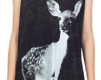 Deer Tank Top Deer Shirt Cute Deer Stonewashed Animal Art Design Tank Women Shirt Tunic Top Tank Top Size M,L,XL - IZJBT52