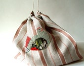 stylish linen bread bag with hen, red stripes, eco bread bags, european bread bag, homemade bread storage, reusable bread bag, red green hen
