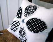 Reverse Applique Flower PIllow Cover in Black and White