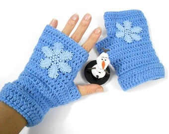 Mittens Snowflake Crochet Frozen Disney Elsa Queen Gloves Fingerless mitts