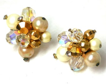VENDOME Earrings Gold Crystal Pearl Beaded Signed Designer 60s Fashion Bride Party