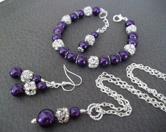 Purple Bridesmaid Jewelry Set,Wedding Jewelry Set,Necklace Earrings Bracelet Set,Bridesmaid Jewelry 3 Piece Set,Ivory Pearl Jewelry Set