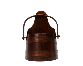 Vintage Wood Firkin Basketville Vermont Rustic Farmhouse Wooden Wall Pocket Half Sugar Bucket Dark Brown Oak Bentwood Handle