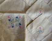 Vintage Tablecloth Set - Madeira Tablecloth and Four Napkins, Embroidered Flowers, Bridge Tablecloth, 4 Napkins