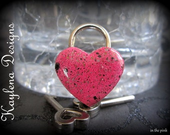 Simulated enameling  in pink ,Small Heart Lock, working lock, lock and key  Love Lock ,pink