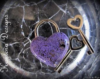 Simulated enameling in purple , Small Heart Lock, working lock, lock and key  Love Lock