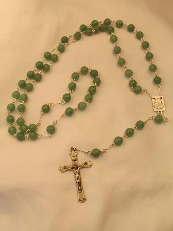 Pope John Paul II Rosary with Jade Beads
