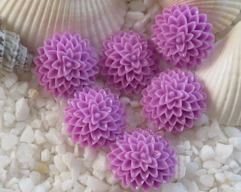 Resin Flower Mum Cabochons - 15mm - Orchid - 24 pcs