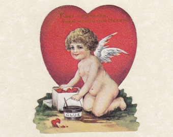 First He Breaks, Then Mends Our Hearts- 1910s Antique Card- Winged Cupid- Broken Hearted- Edwardian Valentine- Paper Ephemera