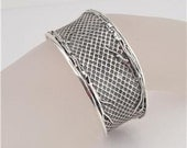 Unique Wide Art Sterling Silver Cuff Bracelet (3144)