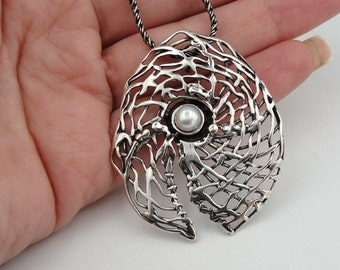 Hadar handcrafted Large Sterling Silver Pearll Pendent (H 448)