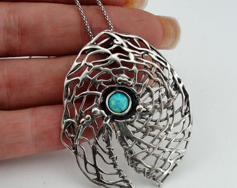 Hadar handcrafted Large Sterling Silver Opal Pendent (H 448)