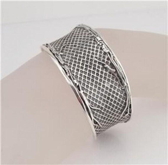 Unique Wide Art Sterling Silver Cuff Bracelet (3144)