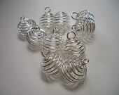 Silver plated wire cages with loop, ca. 18 x 14mm, 10 pieces, round, silver plated bead cages, silver, findings, wire beads, round, metal
