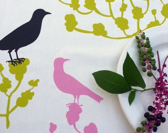 Laminated oilcloth tablecloth Choice of Size Birds Trees Original Design Nadine Westcott Handmade Pink Green and Black Outdoor Entertaining