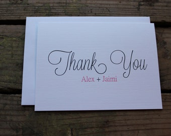 Wedding Thank You Cards with Envelopes / Custom Name Bride & Groom/ Shower / Couples / Set of 10
