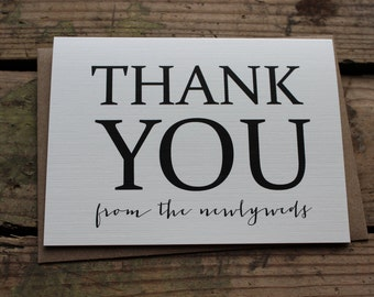 Thank You from the Newlyweds Cards with Envelopes | Kraft, Rustic, Script, Wedding, Newlyweds | Set of 10