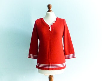 Vintage red sweater top bright / nautical sailor style / bell sleeves / red white stripes / medium