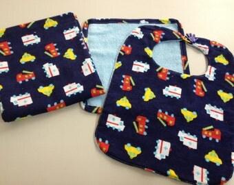 Baby Bib/Washcloth/Blanket Set_Blue Trucks