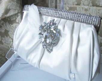 Antique White Satin Fabric Wedding Bridal Bag Clutch Formal Wear  with Rhinestone Feather Accent