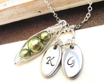 Petite Peas In A Pod Sterling Silver Personalized Necklace Friendship Necklace Best Friends Personalized