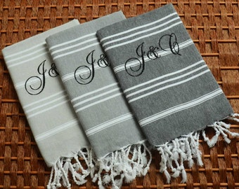 Set of 3 Classic COTTON PESHKIR Head&Hand Towel - Personalized Turkish Towel Set - Monogrammed Embroidered - Black and Light Gray