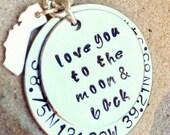 love you to the moon and back, coordinate necklace, personalized necklace, coordinate and state necklace, natashaaloha