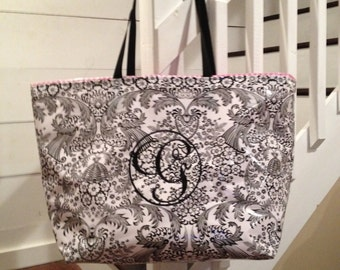 Large Tote Bag/ Black Tote Bag/ Floral Toile Tote Bag/ Oilcloth Tote Bag/Monogrammed Tote Bag/ Boat Bag / Diaper Bag with 1- Letter Monogram