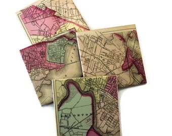 Cambride/Somerville MA Map Coasters- set of 4
